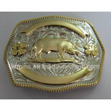 12 животных 3D-сплав золота и никель поясная пряжка (PM-002)