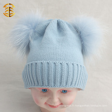 2017 Hot selling cheap funny winter pom pom beanie chapeau enfant avec fourrure