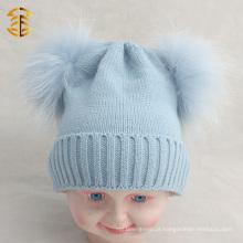 2017 Hot selling cheap funny winter pom pom beanie chapéu de criança com pele