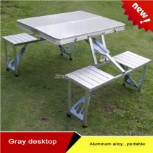 Alumínio Alumínio Portátil Mesas e Cadeiras Siamesas Dobráveis