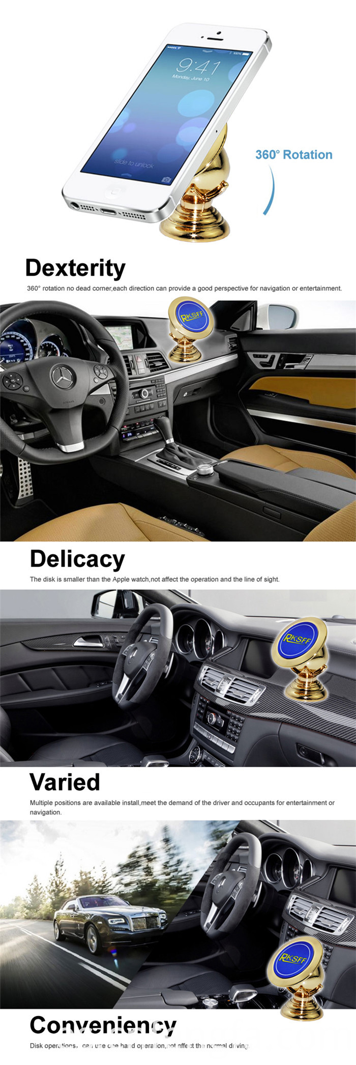 Magnetic Mobile Phone Car Holder Gold