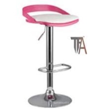 Material de PU e assento de madeira com cadeira de bar de prata cromada