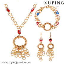 62429-Xuping Latest Model Fashion Gold Necklace Bracelet Earring Sets With Evil Eye