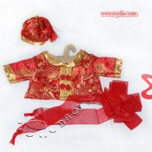Платье красного медведя плюшевого медвежонка