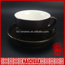 Colorful ceramic cup&saucer/cup and saucer sets with iron rack