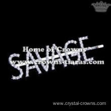 "Crystal Rhinestone Letter ""SAVAGE"" Hair Clips"