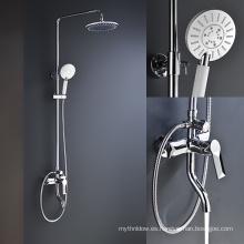 5 funciones de cromo montado en la pared baño combinación cabeza de ducha conjunto