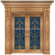 Italy Style Decorative Outside Security Copper Glass Door (W-GB-07)