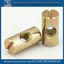 Yellow Zinc Galvanized Furniture Barrel Nut