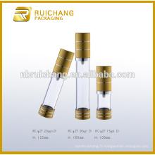 15ml / 20ml / 30ml bouteille étanche cosmétiques en aluminium, bouteille ronde métallique sans air, emballage cosmétique sans air