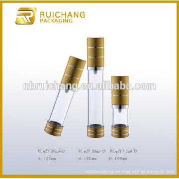 15ml / 20ml / 30ml Aluminium Kosmetik Airless Flasche, Metallic Runde Airless Flasche, Airless Kosmetik Verpackung