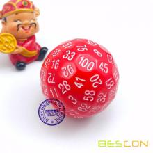 Bescon Polyhedral Dice 100 Sides Dice, D100 mort, 100 Cided Cube, D100 Game Dice, 100-Cided Cube of Red Color