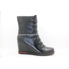 Botas de tacón alto único de señora Wedge Leather
