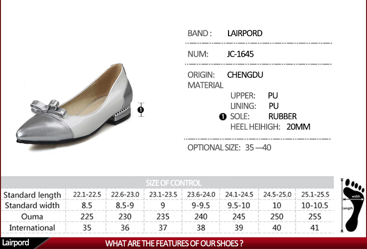 flat women shoes chart