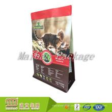 La impresión de encargo se levanta el bolso de empaquetado del alimento del gato del animal doméstico del escudete del lado de la parte inferior plana que se puede volver a sellar