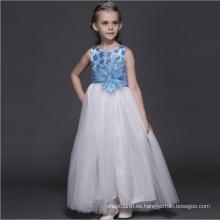 vestidos de cuento de hadas vestido blanco azul claro puro para los niños piso longitud EE. UU. neta suave fiesta de cumpleaños ropa vestidos