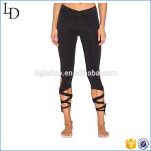 Enrole gravata aberturas de pernas activewear esportes fitness legging atlético