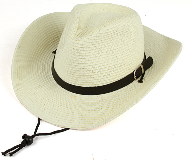 Leather Brand Straw Hat Beige