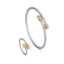Brazalete de brazalete ajustable de acero inoxidable de moda y conjunto de joyas anillo
