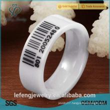 Korean ceramic ring, creative personality of black barcode shaped white ceramic ring for men