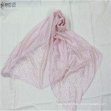 fashion new women solid  color polyester scarf fabric like silk blingbling golden sequin appliques design on scarf two side