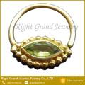 Banhado a ouro peridoto cristal septo nariz jóias anel
