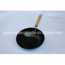 Utensílios de cozinha Wok de aço carbono com alça de madeira