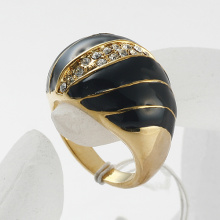 Gold Plated Nickel free Clear Rhinestone studded Black enamel circle Finger Rings for women