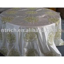 tissu de table taffetas broderie ruban