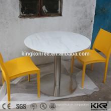 Mesita redonda acrílica de superficie sólida de color blanco puro