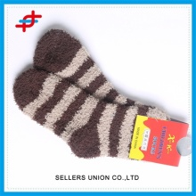 Women Towel Striped Color Fleece Woolen Socks
