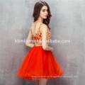 2017 Nouvelle mode courte robe de soirée de conception tulle v cou dos nu rouge robes de demoiselle d'honneur avec de la dentelle d'or
