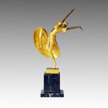 Danseuse Bronze Sculpture Overgild Lady Amelia Statue en laiton, DH Chiparus TPE-188j
