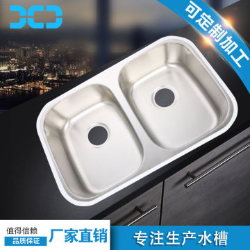 Stainless steel double sink kitchen wash basin