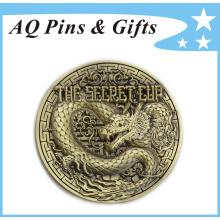 3D Engraving Metal Antique Bronze Souvenir Pin Badge (badge-146)