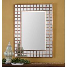 Espejo de pared enmarcado plateado cobre contemporáneo para el accesorio de la decoración casera