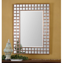 Contemporary Copper Plated Framed Wall Mirror for Home Decoration Accessory
