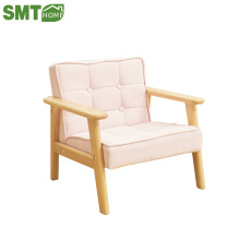 Solid wood legs kid sofa baby table chair with Linen cloth surface