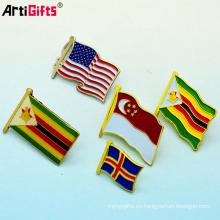 Pines de solapa de banderas de país de suministro de fábrica