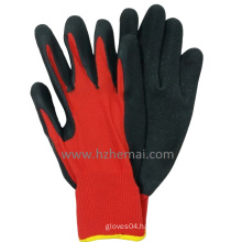 Red Polyester Work Glove Crinkle Latex Coated Construction Working Glove