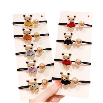 Korean Rhinestone Square Alloy Bear Cartoon Hair Tie Cute Girl Ponytail Head Rope Rubber Female Fashion Accessories