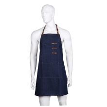 Avental de denim de cinto de couro multi-bolsos de alta qualidade azul