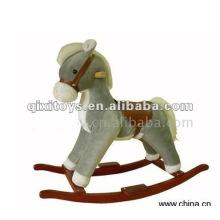 cavalo de balanço cinza recheado e pelúcia