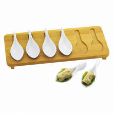 Bamboo Tray, 7-piece Porcelain Tasting Spoons