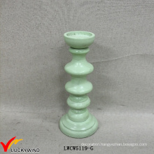 Decor Wood Vintage Mint Green Pillar Candle Holders