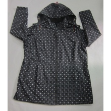 Yj-1067 Printed Black Microfleece Waterproof Breathable Womens Hooded Softshell Jacket