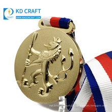 Golden supplier china custom blank metal embossed 3D logo gold plated bronze medal only for you