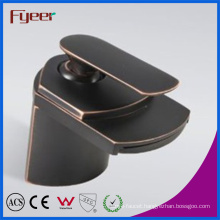 Fyeer Oil Rub Plated Contemporary Black Waterfall Basin Faucet