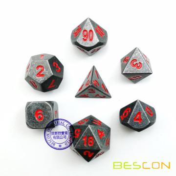 Metálicos 7pcs DUNGEONS AND DRAGONS Dice Set, Metal Juego de RPG Dados con números rojos, metálico 7pcs Polyhedral Dice Set