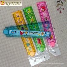 Frete Grátis Plástico Régua Dobrável Dos Desenhos Animados Conjunto com Embalagem Do Saco Do PVC